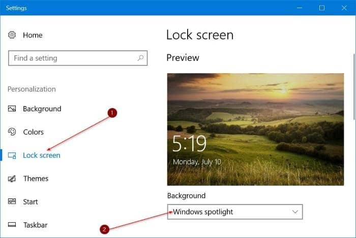 automatically change lock screen background picture in Windows 10 pic1
