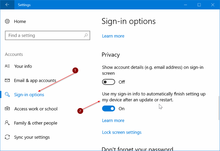 automatically sign in to Windows 10 after restart