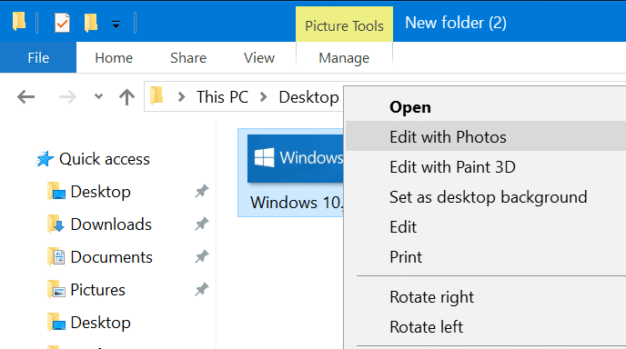 remove edit with photos app from windows 10