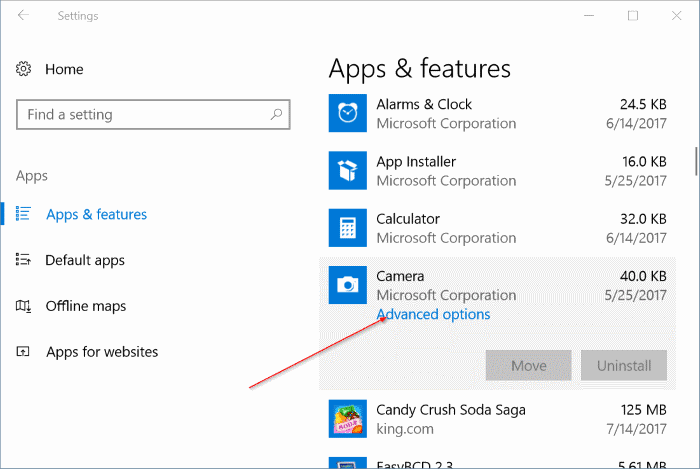 reset and reinstall Camera in Windows 10 pic2