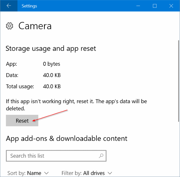 reset and reinstall Camera in Windows 10 pic3
