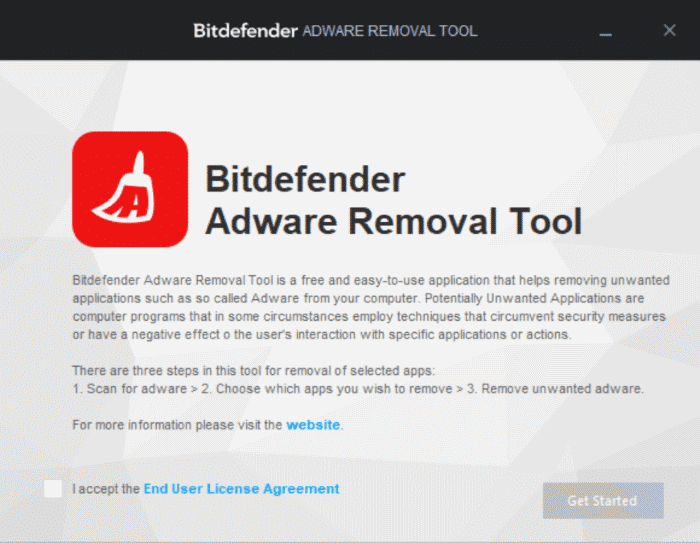 BitDefender adware removal tool for Windows 10 pic1