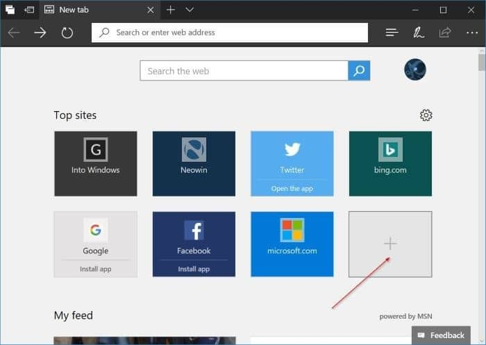 add websites to top sites in Microsoft Edge in Windows 10 pic3