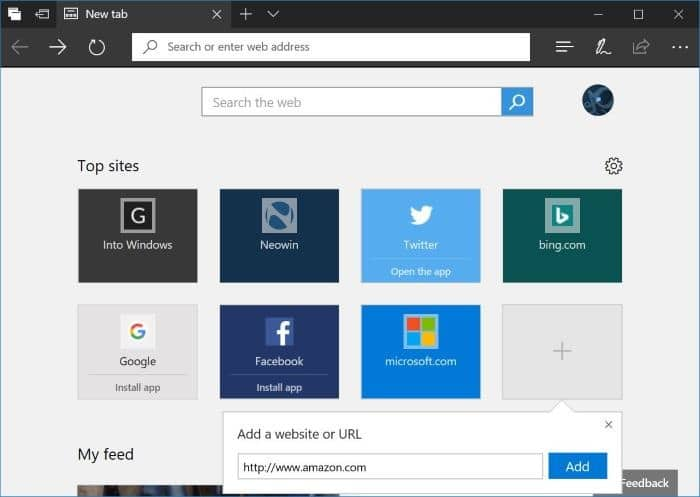 how to add websites to top sites in microsoft edge
