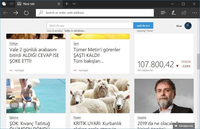customize new tab page in Edge