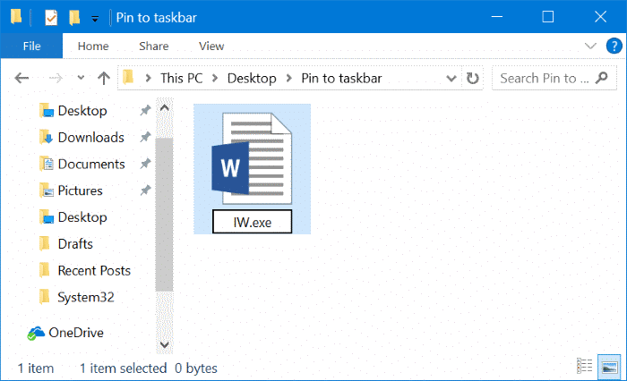 pin any file to Windows 10 taskbar pic3