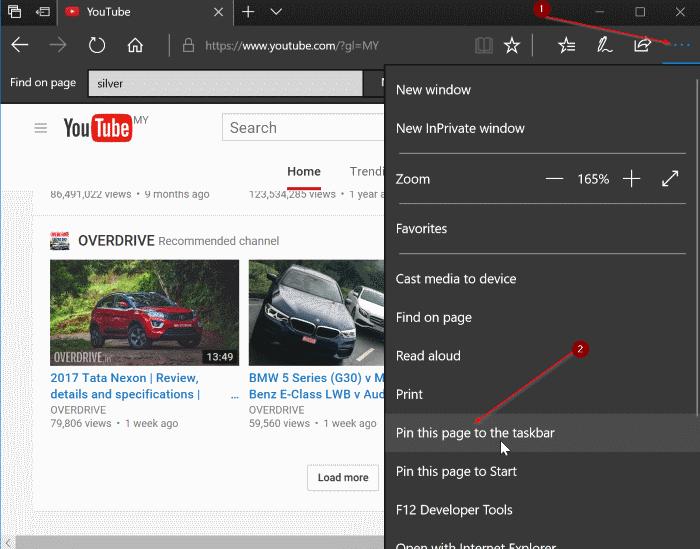 pin google youtube and gmail to windows 10 taskbar