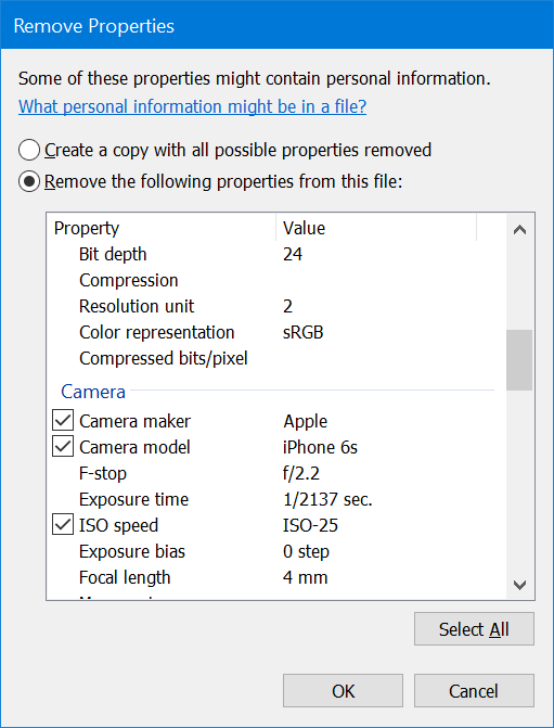 remove personal information from pictures Windows 10