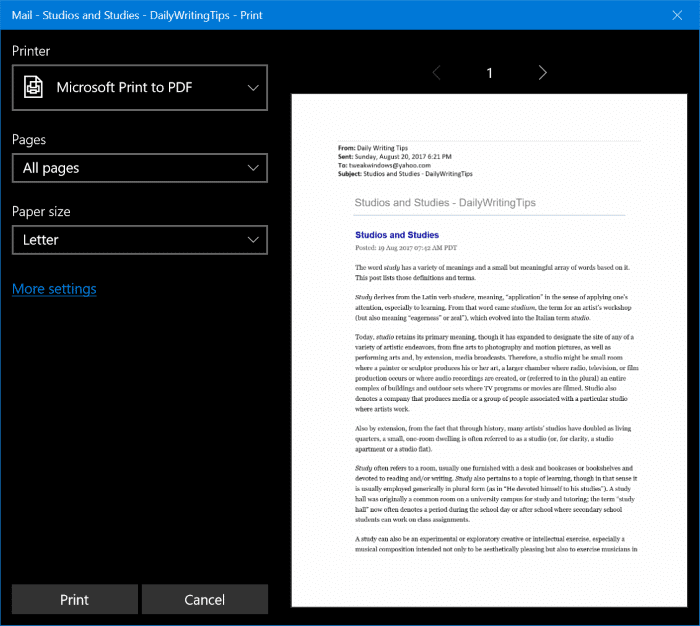 save emails as PDFs in Windows 10 pic2