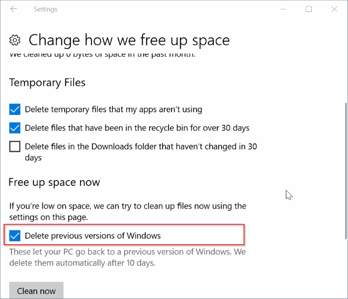 Automatically delete previous Windows installation files in Windows 10 pic3