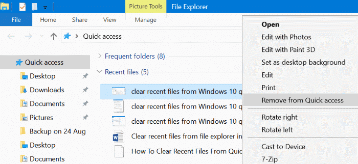 clear recent files from Windows 10 quick access pic02