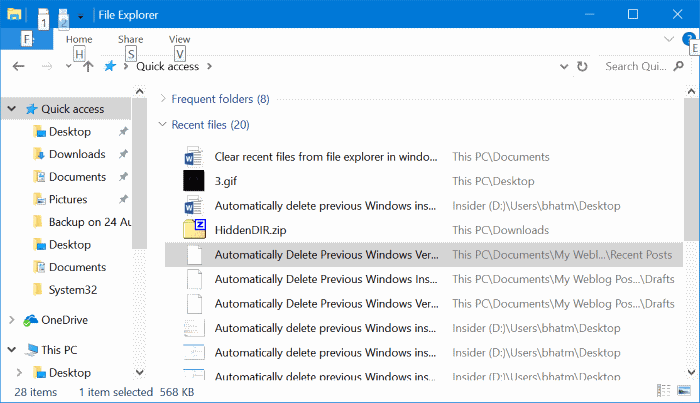 clear recent files from Windows 10 quick access pic1