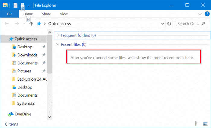 clear recent files from Windows 10 quick access pic4