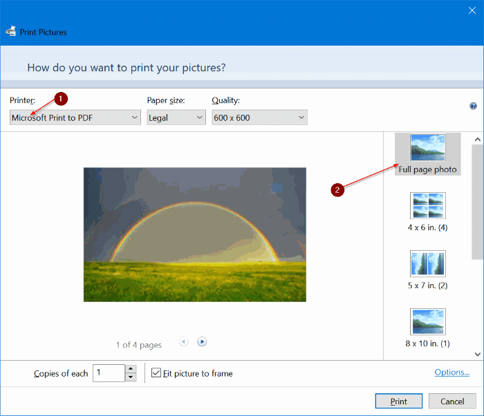 combine multiple pictures into one PDF in Windows 10 pic2