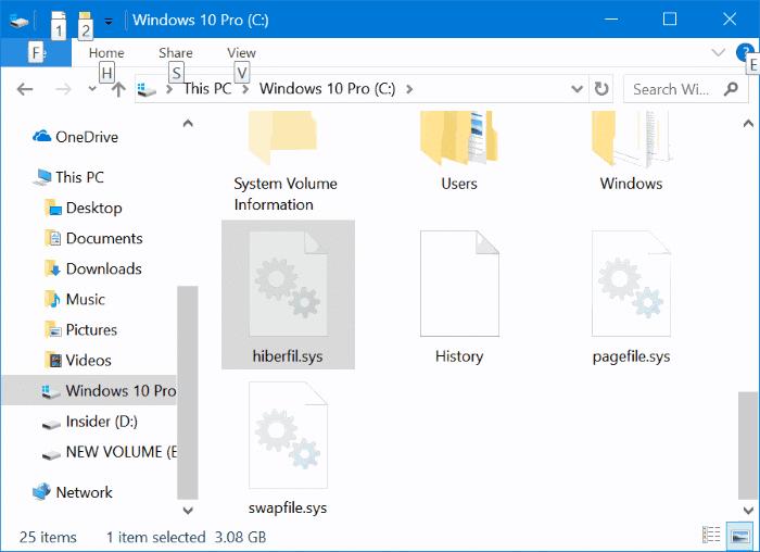 delete hiberfil.sys file in Windows 10