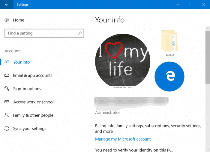 delete old user account pictures in Windows 10 pic1