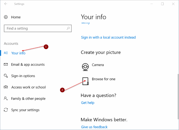 delete old user account pictures in Windows 10 pic3
