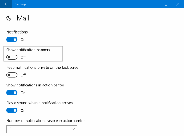 disable notifications for specific apps in Windows 10 pic3