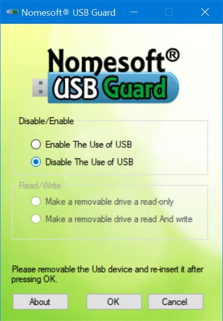 enable or disable USB drives in Windows 10 pic5