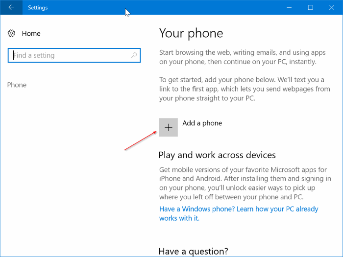 link iphone to Windows 10 PC
