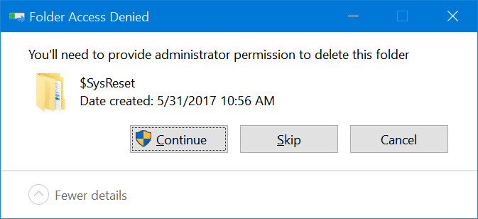 safely delete $sysreset folder in Windows 10 pic5