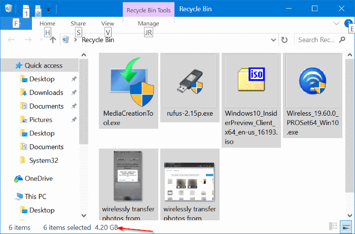 these items are too big to recycle in Windows 10 pic1
