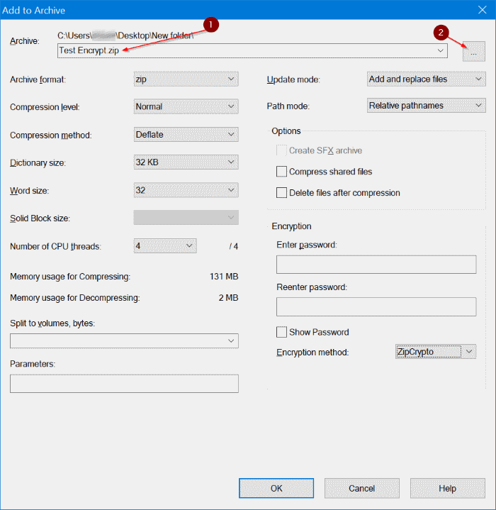 use 7zip to encrypt files and folders in Windows 10 pic2