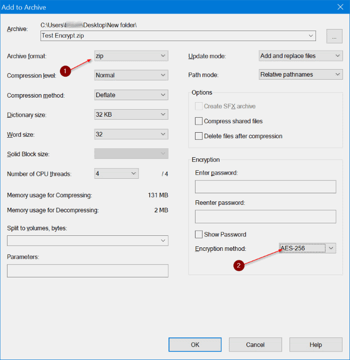 use 7zip to encrypt files and folders in Windows 10
