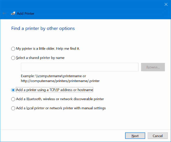 Add wireless printer to Windows 10 PC (6.1)