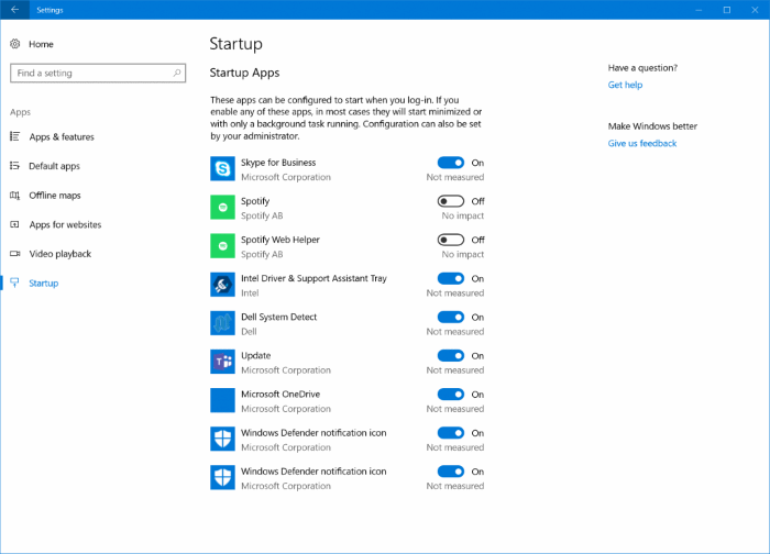 Manage Windows 10 startup apps in settings