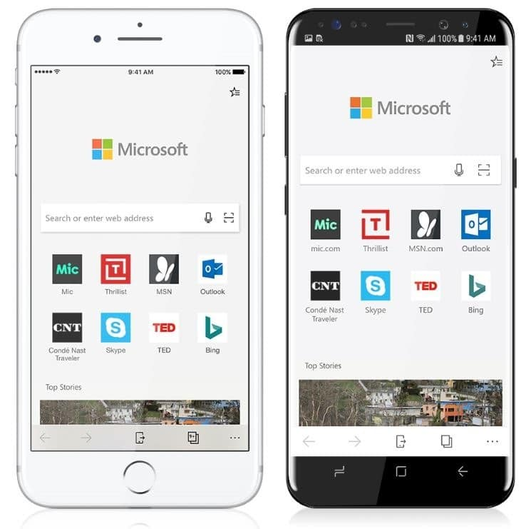 Microsoft edge for ios and android OS