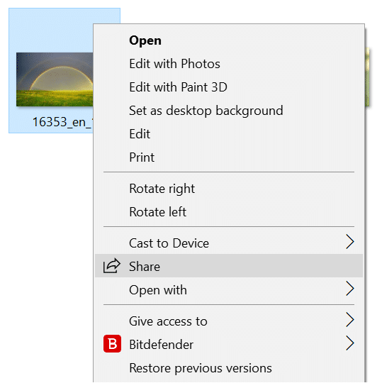 remove share from context menu in Windows 10