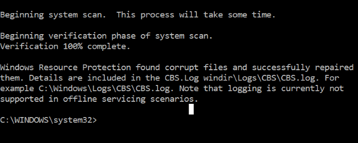 repair corrupted system files in Windows 10