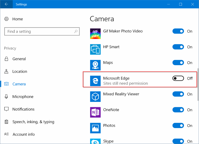 check website has permission to access camera, microphone location in Edge pic1