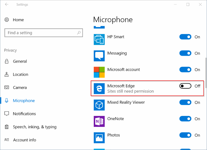 check website has permission to access camera, microphone location in Edge pic2