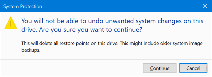 delete restore points in Windows 10 pic3.1