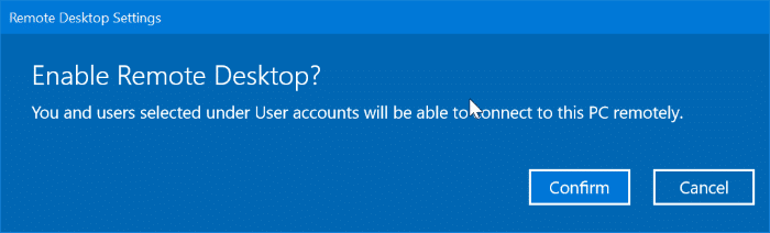 enable or disable remote desktop in Windows 10 pic2