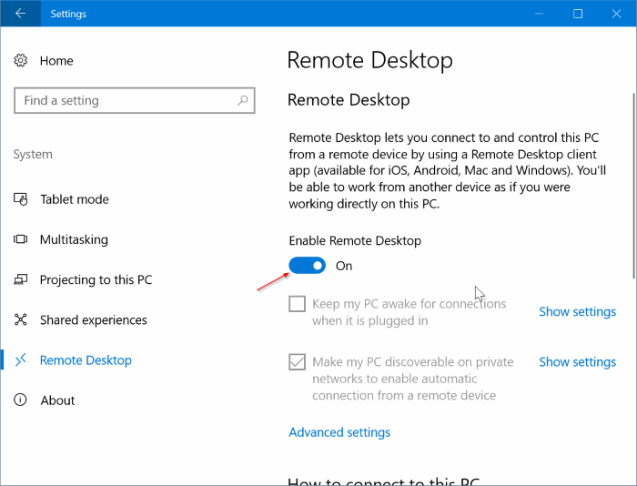 enable or disable remote desktop in Windows 10 pic3