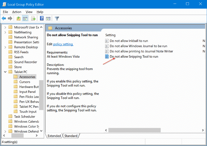 enable or disable snipping tool in Windows 10 pic2