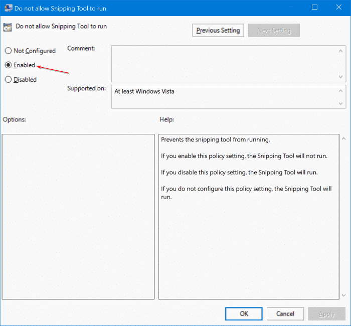 enable or disable snipping tool in Windows 10 pic3