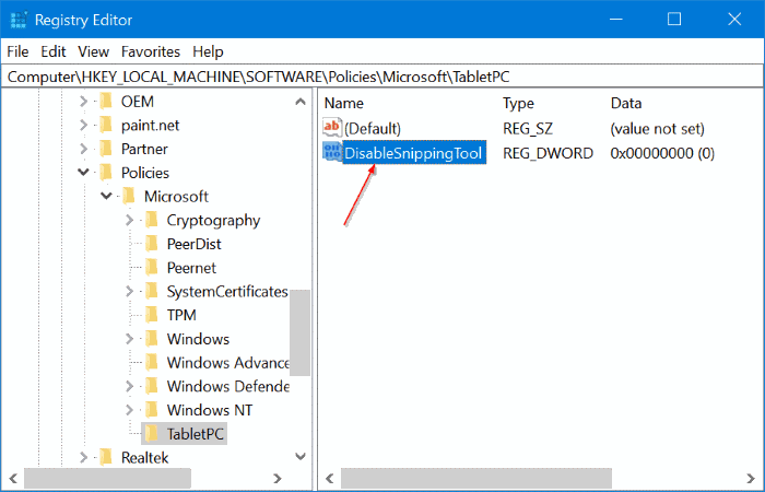 enable or disable snipping tool in Windows 10 pic6