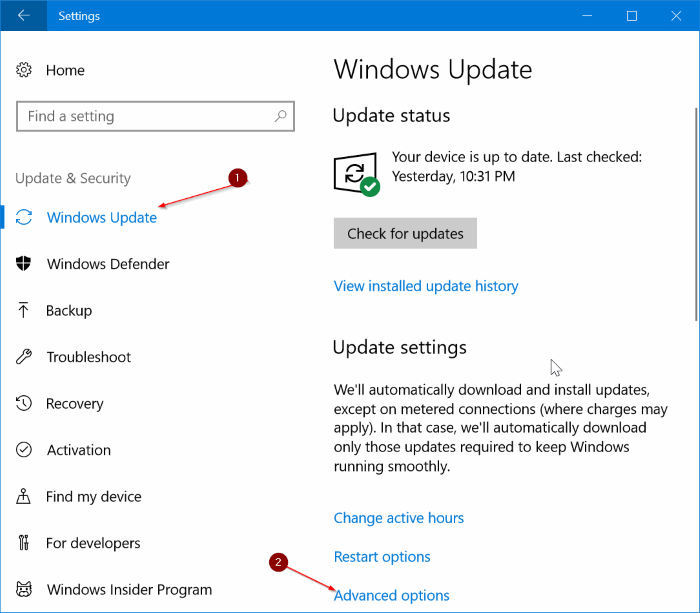 limit Windows Update bandwidth usage in Windows 10 pic1