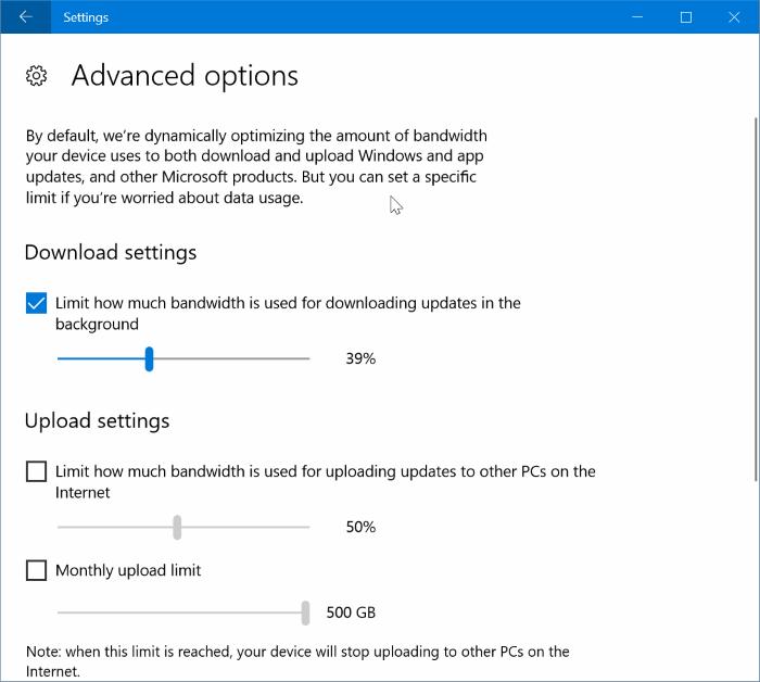 How To Limit Windows Update Bandwidth Usage In Windows 10
