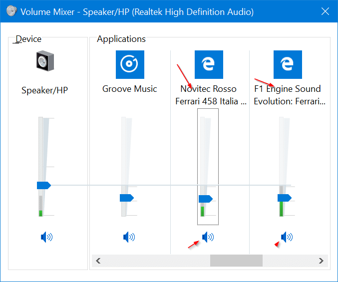 mute tabs in Microsoft Edge browser in Windows 10 pic2
