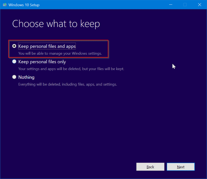 repair Windows 10 install without losing apps and data pic8