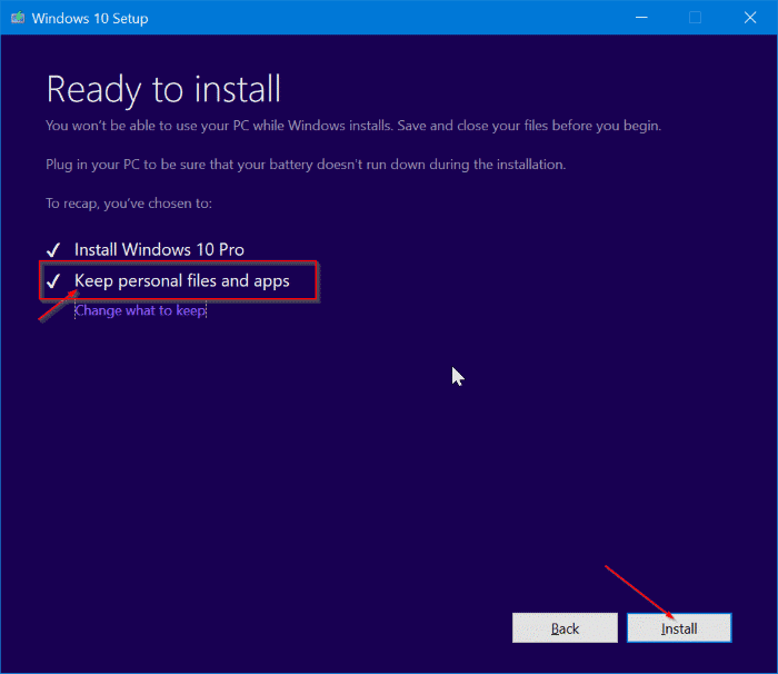 repair Windows 10 install without losing apps and data pic9