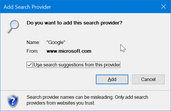 set Google as default search engine in Internet Explorer in Windows 10 pic4