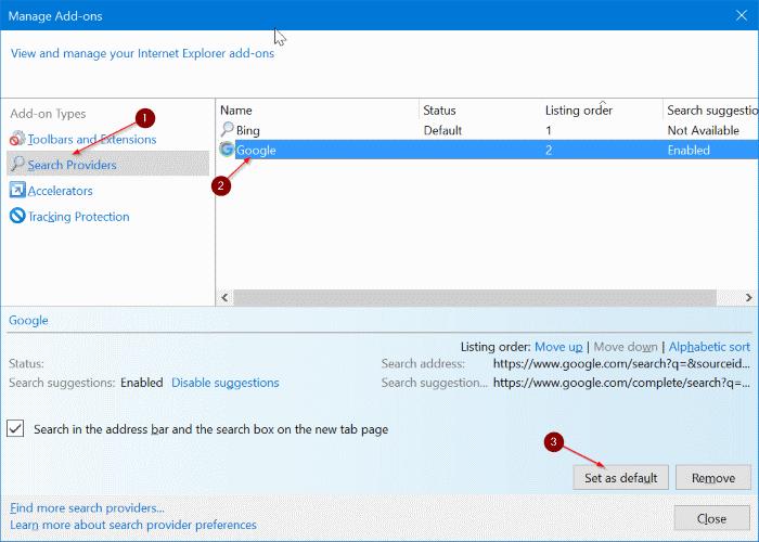 set google as default search engine in Internet Explorer 11