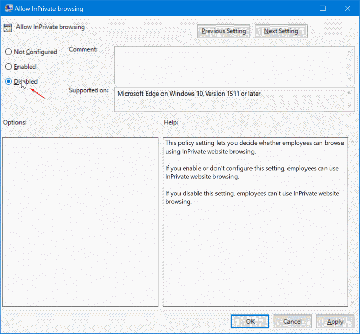 Disable inprivate browsing in Edge browser in Windows 10 pic3