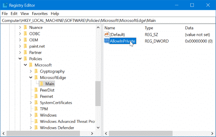 Disable inprivate browsing in Edge browser in Windows 10 pic8